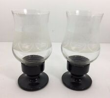 Pair of Vintage Carlsberg Beer Glass Hurricane Taper Candle Holders