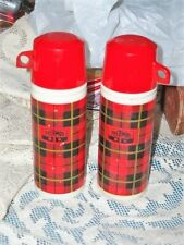 2 VINTAGE AVON PLAID THERMO DECANTER WILD COUNTRY AFTER SHAVE 3 OZ. BOTH MTY
