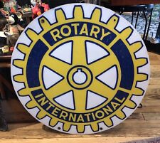 """Vintage ROTARY INTERNATIONAL SIGN ROUND 30"""" FIBERGLASS Yellow/Blue TWO SIDED"""