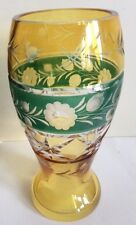 Bohemian Czech Crystal Vase Cut to Clear Amber & Green ~ Floral ~ RARE!