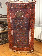 Unique Antique 1930-1940s Multi-Colored Natural Dyed Wool Pile Tribal Prayer Rug