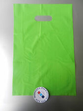 LIME GREEN PLASTIC CARRY BAG WITH DIE CUT HANDLE x 100