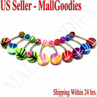 W021 Acrylic Belly Rings 14G Lot of 10 Colors Naval Curve Barbell Stripes Design