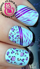 NAIL ART WRAP WATER TRANSFER DECALS ANIMAL PRINT LEOPARD SPOTS/TIGER STRIPES 395