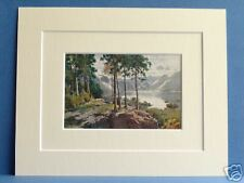 DERWENTWATER FROM CASTLE HEAD CUMBRIA VINTAGE DOUBLE MOUNTED PRINT HEATON COOPER