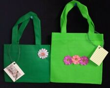 Gift Bags Set of 2 with Handmade design Green with Flowers and Gift Tag