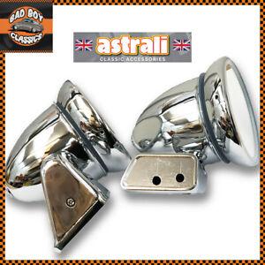 Pair Adjustable Chrome Door Bullet Torpedo Mirrors Direct Fit CLASSIC MINI
