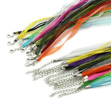 10 Organza Ribbon & Cord Necklaces Mixed Colours Jewellery Making J09766XC