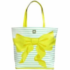 NEW Kate Spade Poplar Court Bow Tote Large Beach Bag Striped Mint Mojito Yellow