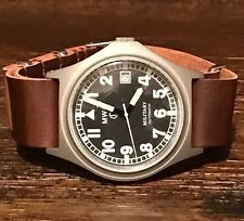 MWC G10 Automatic Military Watch w/ Dark Brown N.A.T.O. Leather Style Strap