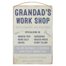 Grandad's Work Shop  -  Shabby Chic Metal Wall Hanging Sign