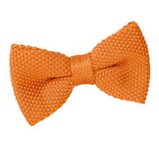 DQT Knit Knitted Plain Solid Tangerine Classic Mens Pre-Tied Bow Tie