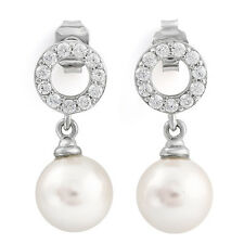 LOVELY 18MM MAN-MADE PEARL & CREATED DIAMOND 925 STERLING SILVER EARRING