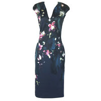 Ted Baker London Antonya Blue Floral Midi Sheath Dress Size 0 US 2