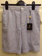 NWT Brooks Brothers Boys Kids Seersucker Short Blue Striped Flat Front Size 12