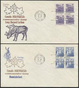 1956 #360-361 Pair of Wildlife FDCs, Blocks, Sanders Cachets, Ottawa
