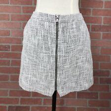Topshop Women's Sz 10 Mini Skirt Zip Through Black White Textured Front Pockets
