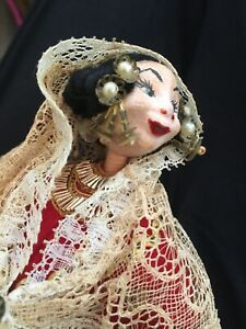 Vintage Cloth Doll Painted Face Beads Lace Hard Stuffed Handmade