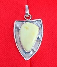 Alter Natur Bernstein Anhänger Silber  925er  ca. 13g Amber Necklace White Amber