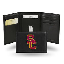 Southern Cal USC Trojans NCAA Embroidered Team Logo Black Leather Trifold Wallet