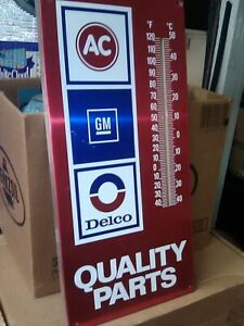 Vintage GM AC Delco Quality Auto Parts Thermometer Sign 19x9