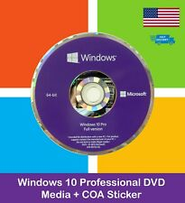 Microsoft Windows 10 Pro Professional 64bit Dvd kit + Product Key Code Coa