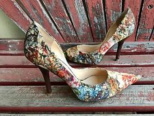 *FaLL FloRaL Sz 10 GUESS Pointy Toe CARRIE Stilettos High Heels PUMPs Fabric