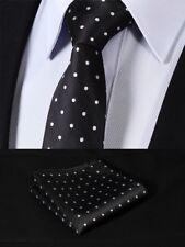 Mens Black White Polka Dot Silk Tie Woven Ties Necktie Wedding Free Hanky