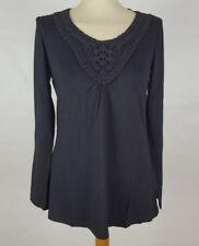 Tunika Shirt grau mit Spitze figurumspielend langarm Viscose S 36 38 neu 637
