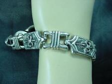 "Vtg Sterling 925 Silver 8""  Fleur de Lis Link Heavy Bracelet 58.50 Grams   #1601"