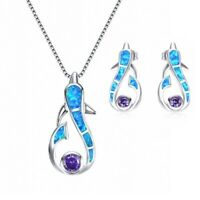 Fashion Blue Fire Opal Pendant Necklace Earrings Set 925 Silver Women Jewelry