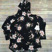 LuLaRoe Large AMBER HOODIE, Black Floral; Slinky Fabric, NWT, sizes 14-16