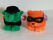 Puffkins 1994 Halloween Plush Lot of 2 Trick Bear & Stitch Limited Edition