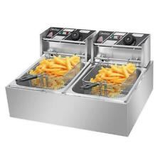 2 Fry Basket Commercial 5000w 12l Electric Deep Fryer Dual Tank Stainless Steel