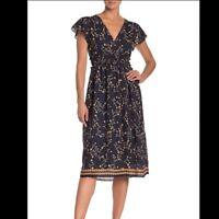 Max Studio Navy Floral Short Sleeve Dress Midi Boho Pretty Medium