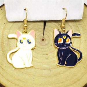 Hot White Blue Enamel Cute Sailor Moon Cat Betsey Johnson Women Stand Earrings