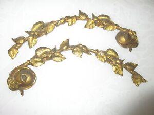 Ancien XIXème fronton ornement,garniture,meuble...en bronze fleur et feuilles