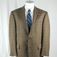 Jos A Bank Men's 40 R Brown Houndstooth 2 Button Wool Sport Coat Blazer Jacket