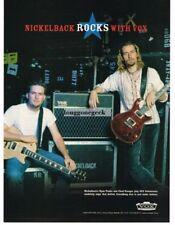 2003 VOX Valvetronix Amplifiers CHAD KROEGER RYAN PEAKE Nickelback Vtg Print Ad