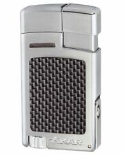 XiKAR 523SLCF Forte Single Torch Flame Cigar Lighter Silver Carbon Fiber