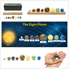 8 Planets Quartz Crystal Natural Stone Sphere Beads Desk Display Home Descor