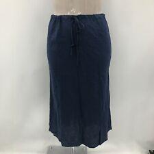 New Armani Jeans Skirt Womens Size UK 16 Dark Blue 100% Linen Casual 291520