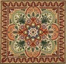 """20"""" DECORATIVE TAPESTRY PILLOW COVER Green & Orange Ornament CUSHION ACCENT"""