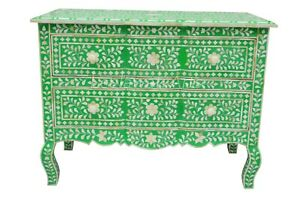 Bone Inlay Floral Design Chest of 2 Drawers Side Table End Table Green