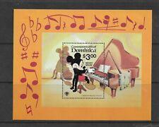 HICK GIRL- MINT DOMINICA SOUVENIR SHEET     DISNEY  MICKEY PLAYS PIANA    A1