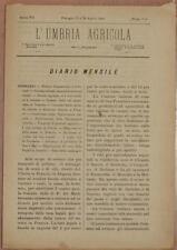 L'UMBRIA AGRICOLA 15 30 APRILE 1889 VITICOLTURA PUGLIA BARI VINI COLONIA TUNISI