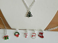 "SILVER PLATED 18"" NECKLACE CHAIN & CHOICE OF CHRISTMAS PENDANT CHARM"