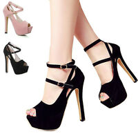 Women Platform Peep Toe Stiletto Sandals High Heels Buckle Strappy Party Shoes