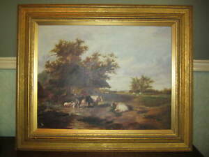 Landscape with cattle - J B Loynds - Oil on canvas