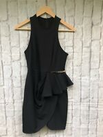 Shona Joy 8 Black Mini Dress Peplum Detail Gold Buckle Cocktail Party EUC